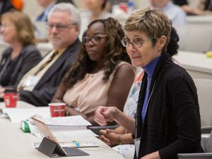 Tulane Vice President for Research Laura Levy, right, participates in the Delta Clinical and Translational Health Disparities Conference in Jackson, Mississippi.