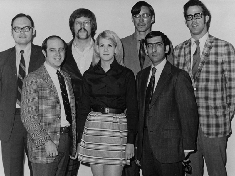 The first graduating class in Health Services and Hospital Administration — Top row, left to right: Robert Stott, Michael Arbuckle, Donalo Buck, William Collins; Bottom row: Stuart Capper, Carole Furman Philipson, Theodore Weinberg. Not pictured: Terry Faget and Edgar Silvey