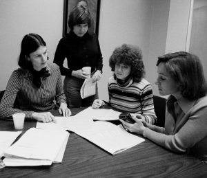 From left to right: Dr. Rosemary Stevens (department chair), a student, Ruth Barnes (department administrator), and Dr. Joni Steinberg (professor).