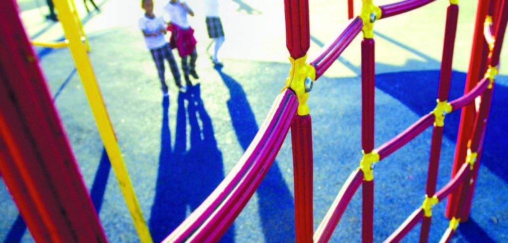 Kids play on playground